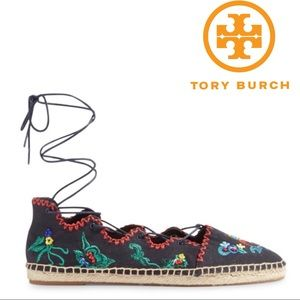 Tory Burch Espadrilles Embroidered Ghillie Flat 10